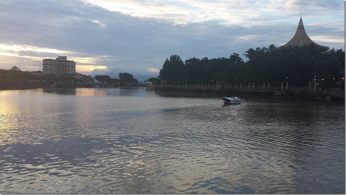 Kuching, Malaysia. Riverfront at dusk.