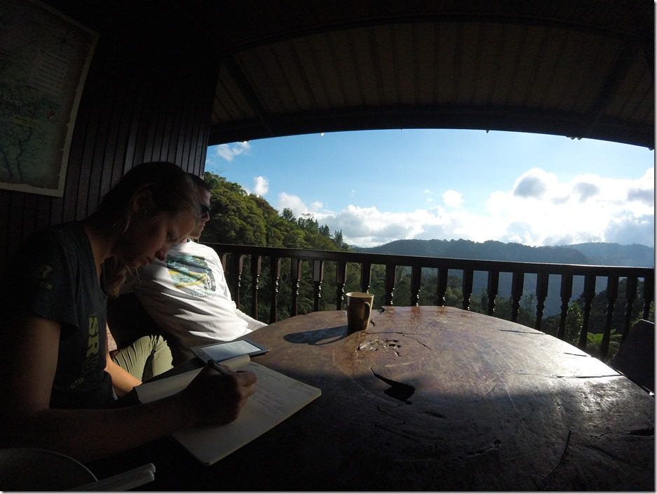 Relaxing on the porch at Kinabalu Mountain Lodge. Beautiful views.
