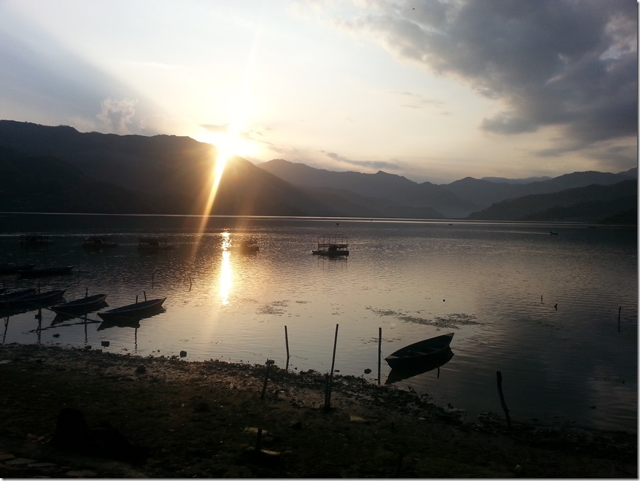 Phewa Lake at sunset from Pokhara.