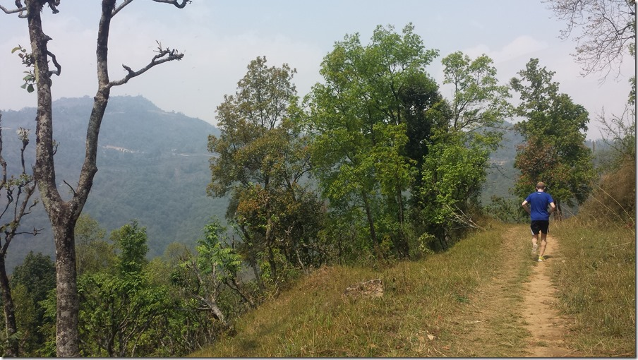 Trail running in Pokhara. Sarangot is the mountain in the distance (to the left).