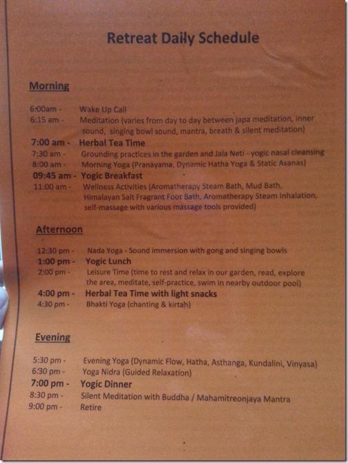 Purna Yoga Retreat Daily Schedule