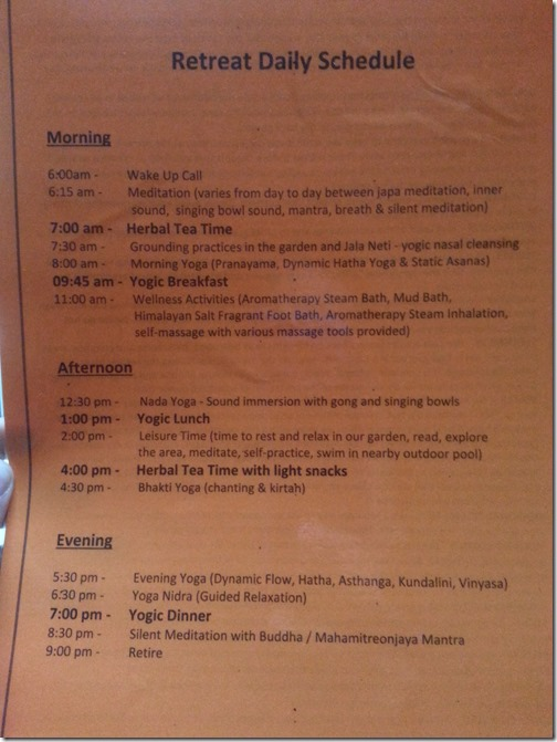 Purna Yoga Retreat Daily Schedule