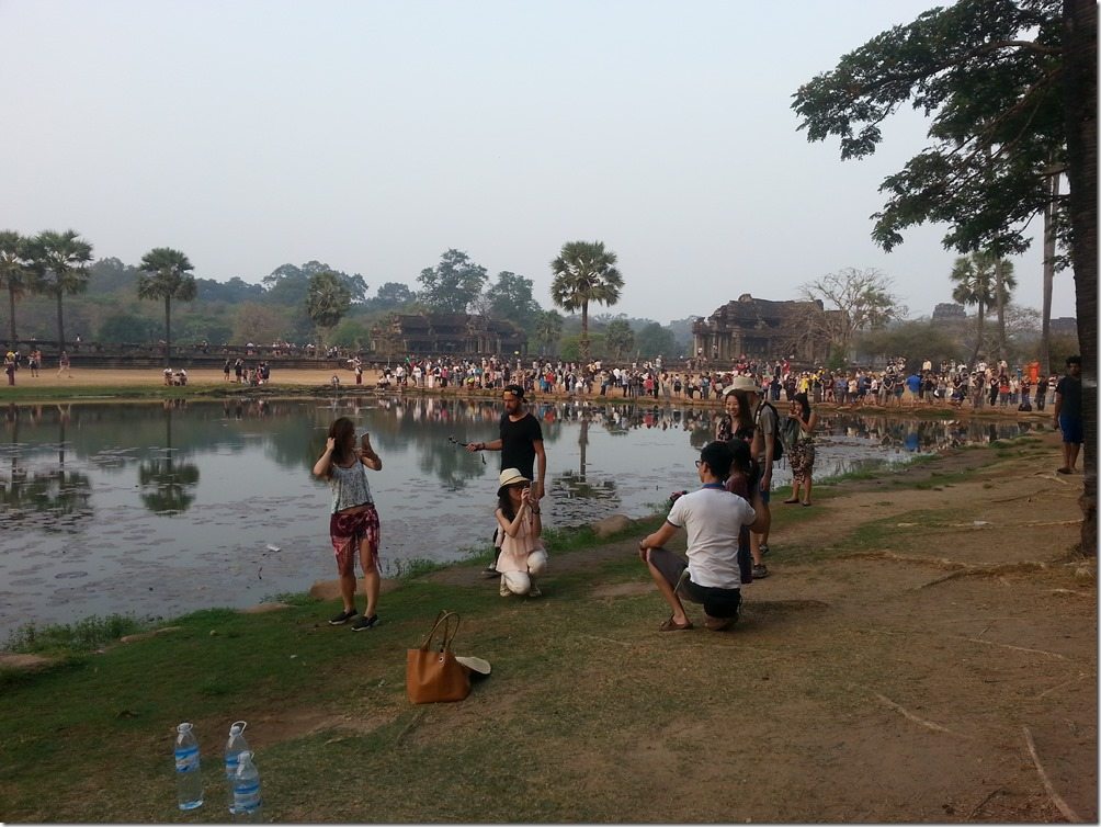 The crowds on hand to see Angkor Wat at sunrise.