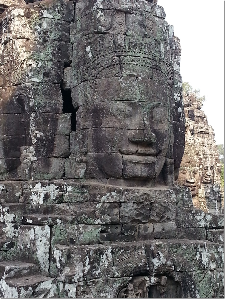 Bayon Temple in Angkor Wat is known as the temple of faces. There are over 200 faces in total.