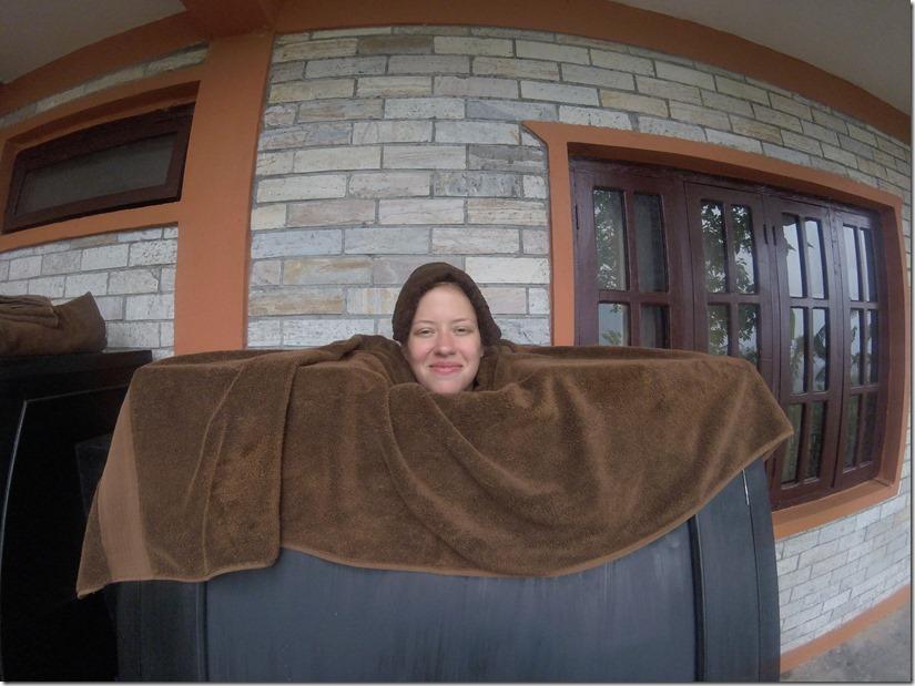 Danielle enjoying a steam bath at Purna Yoga Retreat.