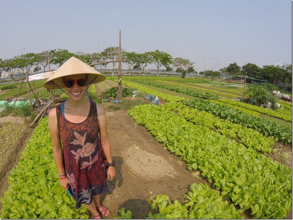 Part of the Danang cooking class entailed visiting a garden and 'helping' plant lettuce. It felt a little forced to us but we got to wear this sweet hat so yeah, it was awesome.