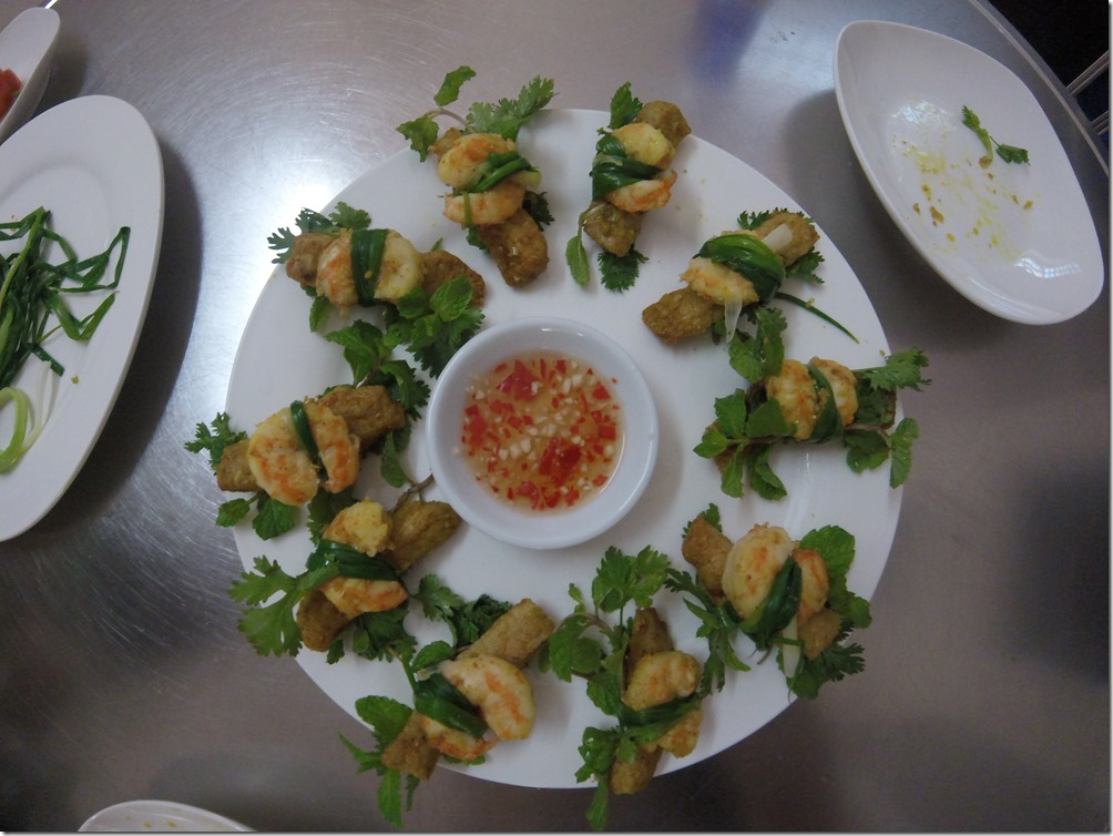 Three friends. One of the dishes we prepared during our cooking class in Danang.