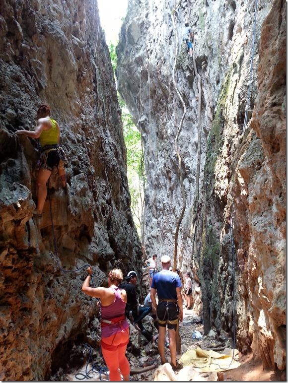 Climbing in Vang Vieng.