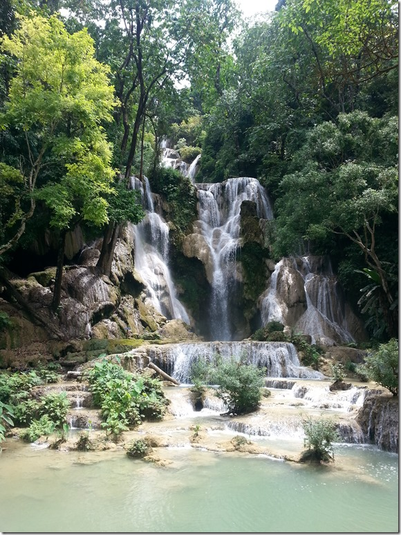 The top waterfall at Kuang Si.