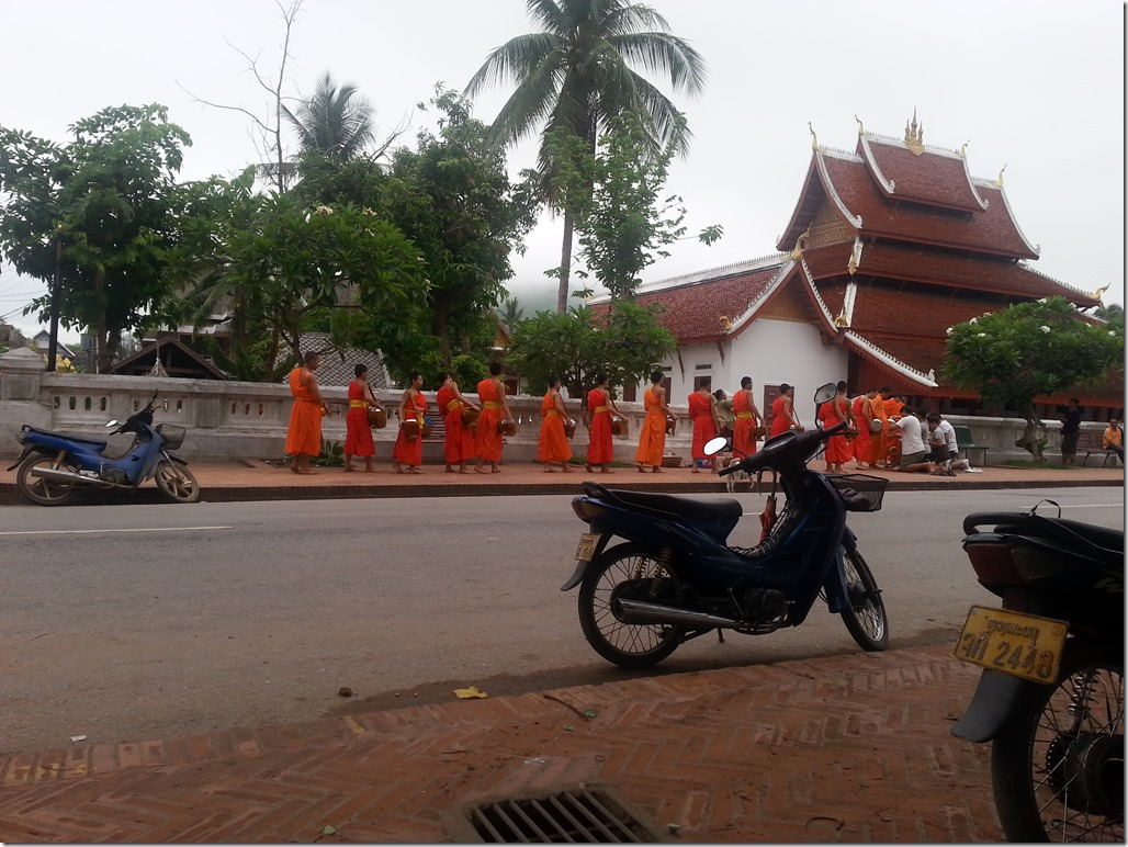 Alms in Luang Prabang. Note the tourists kneeling and giving alms at the front of the line.