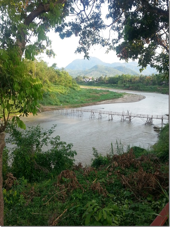 One of the bamboo bridges in Luang Prabang. We were planning on crossing it during one of our runs, but tourists were required to pay a fee.