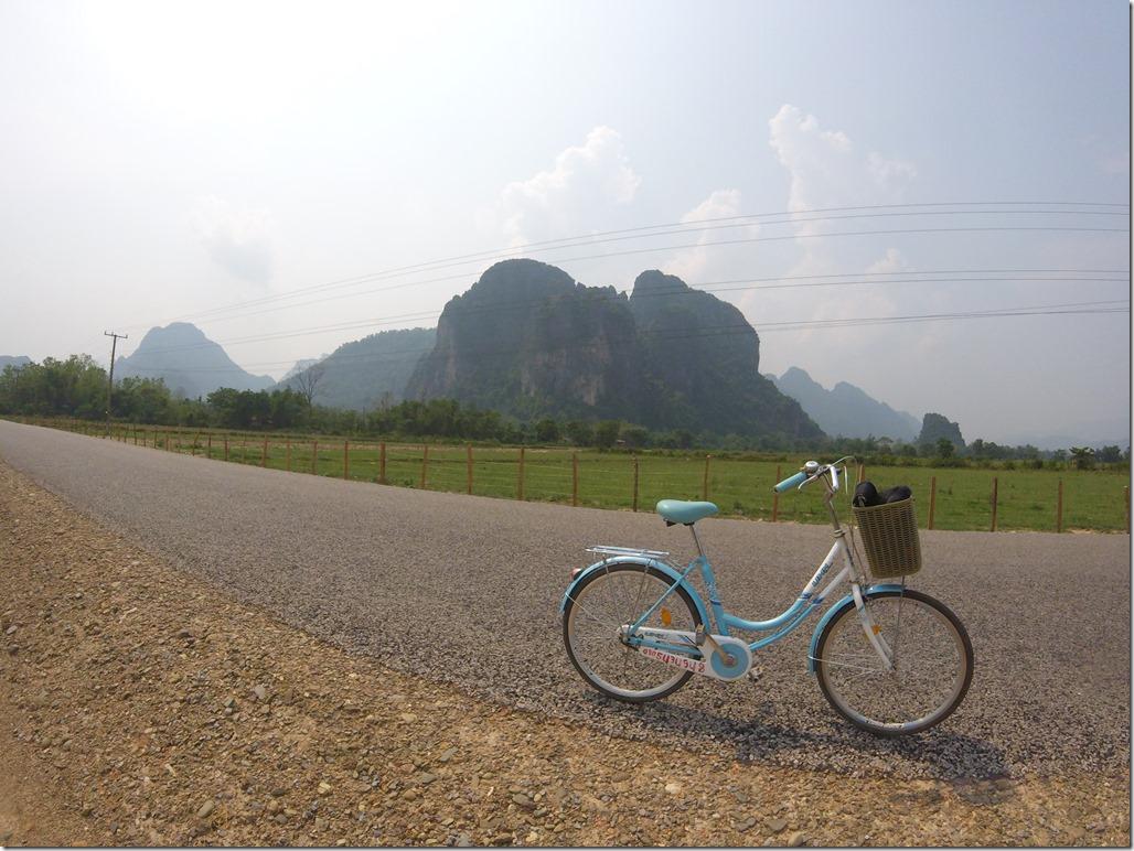 Biking (in style) around Vang Vieng.