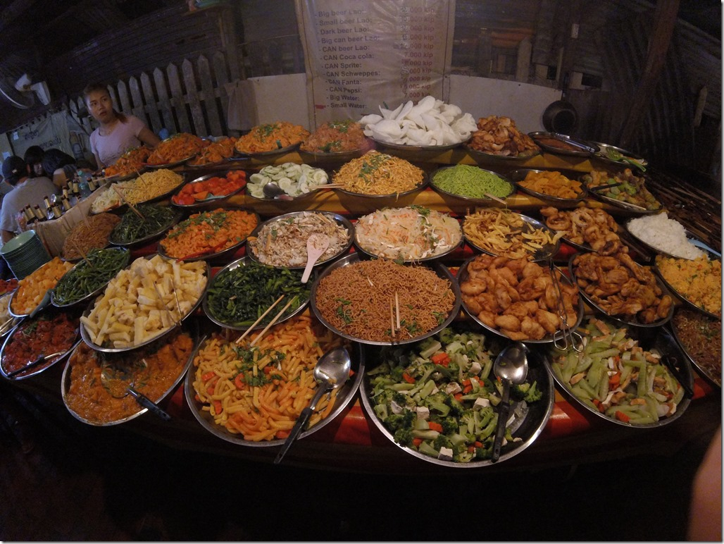 One of the buffet options at the Luang Prabang Night Market.
