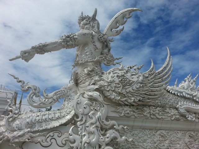 Up close view of the White Temple.