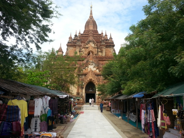 tourist stands and temples in bagan