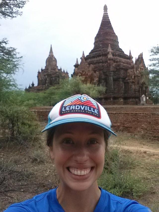 running selfies in bagan