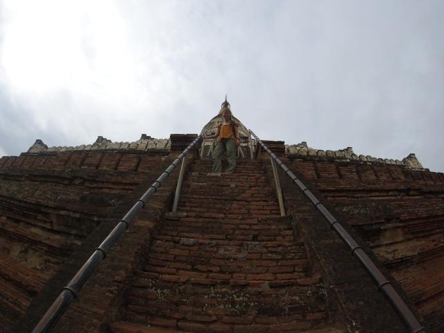 Climbing temples in Bagan.