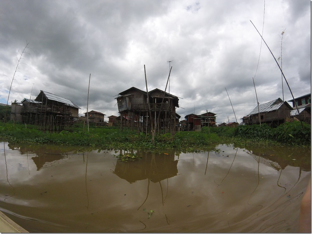 One of the villages of Inle Lake.